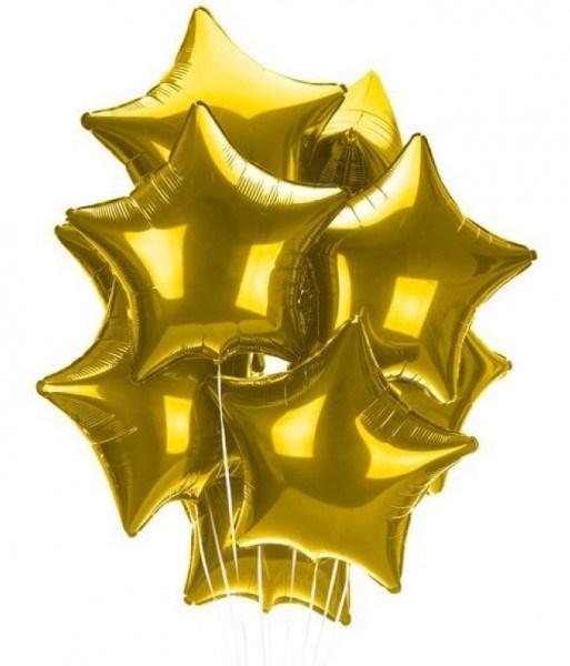 Воздушные шары 9 фольгированных звезд - фото 7001