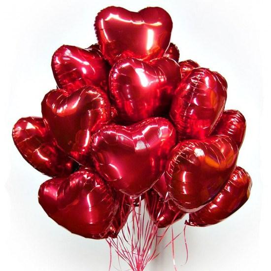 Воздушные шары 15 фольгированных сердец - фото 7003