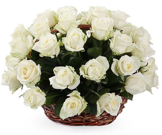 35 роз Аваланш в корзине - фото 7771