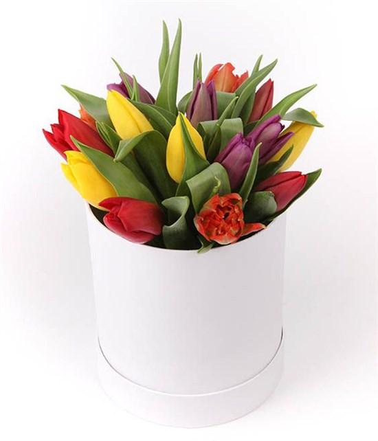 15 тюльпанов микс в белой шляпной коробке - фото 7780