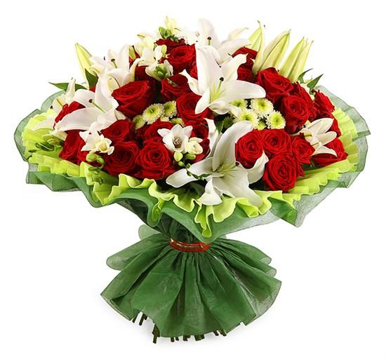 Букет с лилиями и розами Спящая красавица - фото 7784