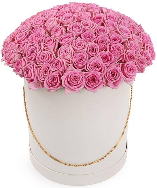 101 роза Аква в шляпной коробке - фото 7848