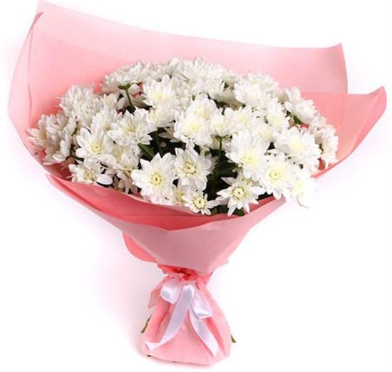 Букет 15 белых кустовых хризантем - фото 7885