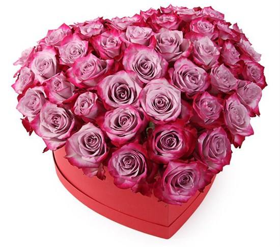 Композиция Оттенки любви в коробке-сердце - фото 7905