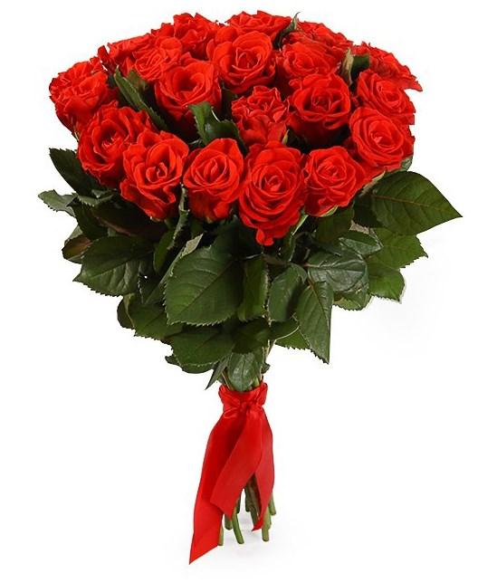 Букет 21 красная роза, 50 см - фото 7969