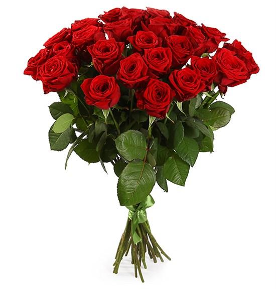 Букет 25 красных роз 60/70 см - фото 7983