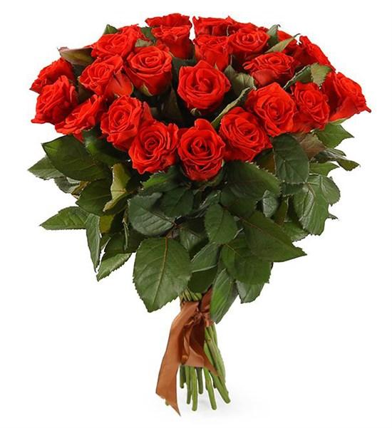 Букет 25 красных роз, 50 см - фото 7984