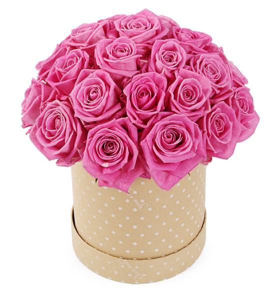 25 роз Аква в шляпной коробке - фото 7987