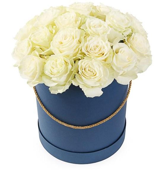 25 роз Мондиаль в шляпной коробке - фото 7993