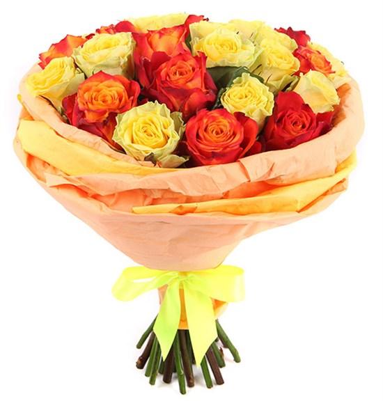 Букет 25 роз, желто-оранжевый микс - фото 8001