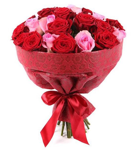 Букет 25 роз, красно-розовый микс - фото 8003