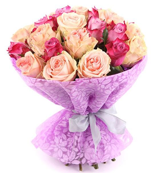 Букет 25 роз, розово-фиолетовый микс - фото 8004