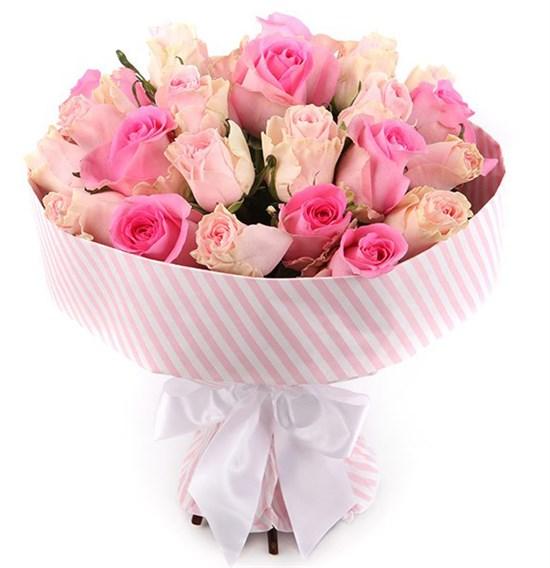 Букет 25 роз, розовый микс - фото 8005