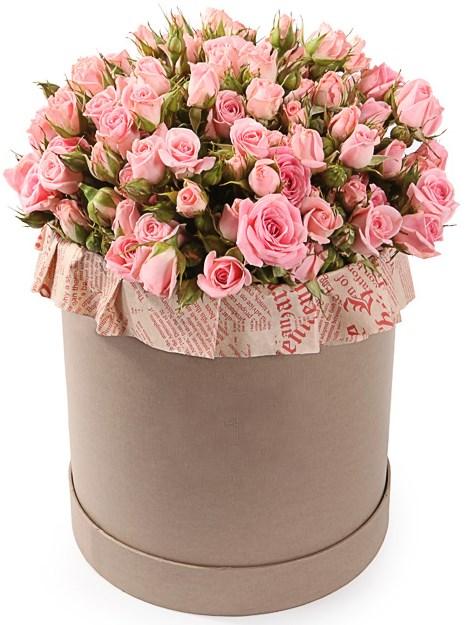 Букет Розовое утро в шляпной коробке - фото 8121