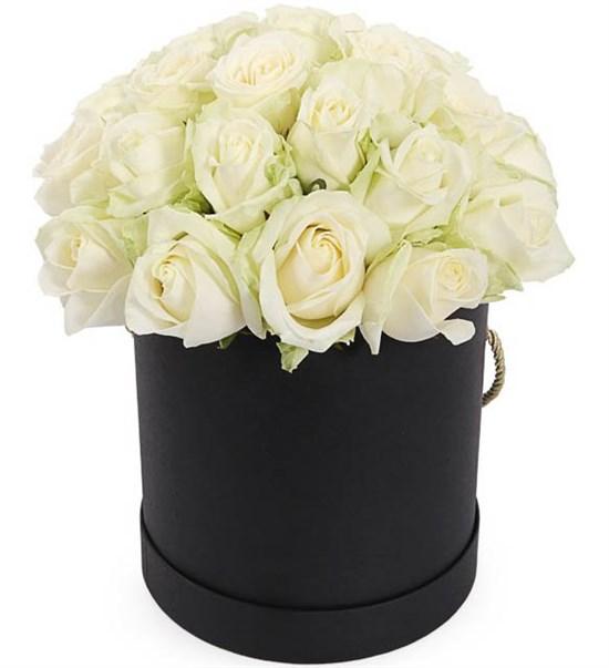25 роз Аваланш в шляпной коробке - фото 8126
