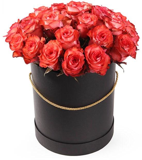 25 роз Игуана в шляпной коробке - фото 8129