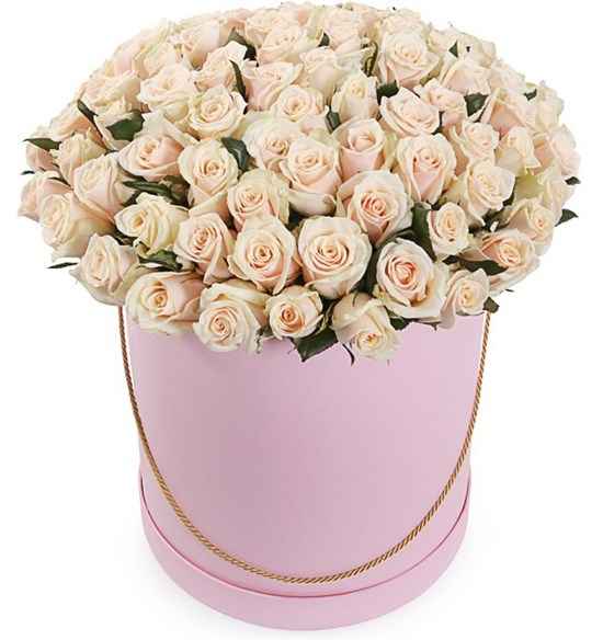 101 роза Талея в шляпной коробке - фото 8150
