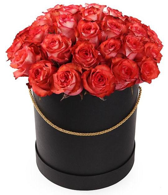 35 роз Игуана в шляпной коробке - фото 8170