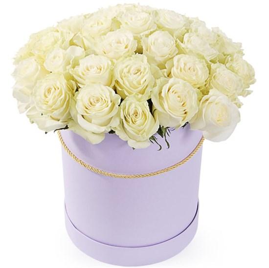 35 роз Мондиаль в шляпной коробке - фото 8178
