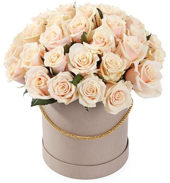 35 роз Талея в шляпной коробке - фото 8183