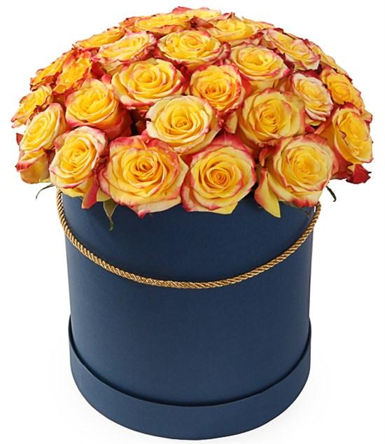 35 роз Хай Еллоу в шляпной коробке - фото 8186