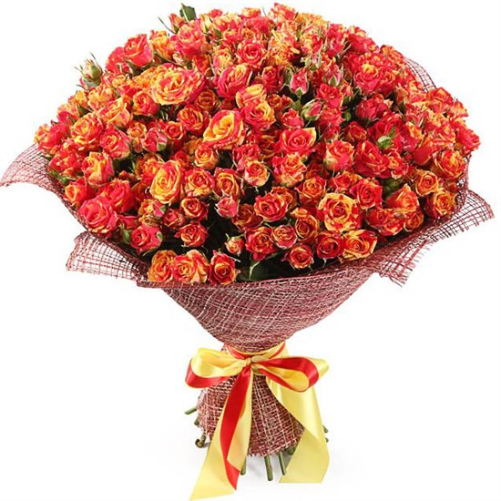 Букет 50 кустовых роз Фаер Флеш - фото 8201