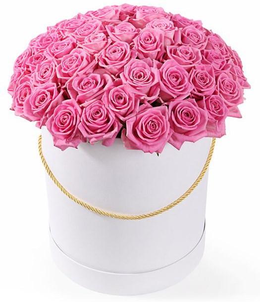 51 роза Аква в шляпной коробке - фото 8238