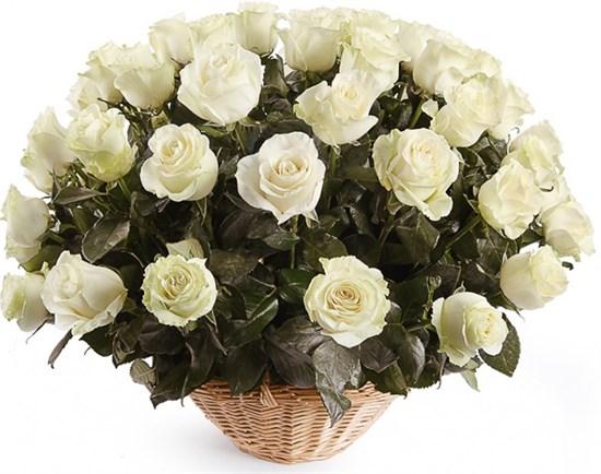 51 роза Мондиаль в корзине - фото 8270