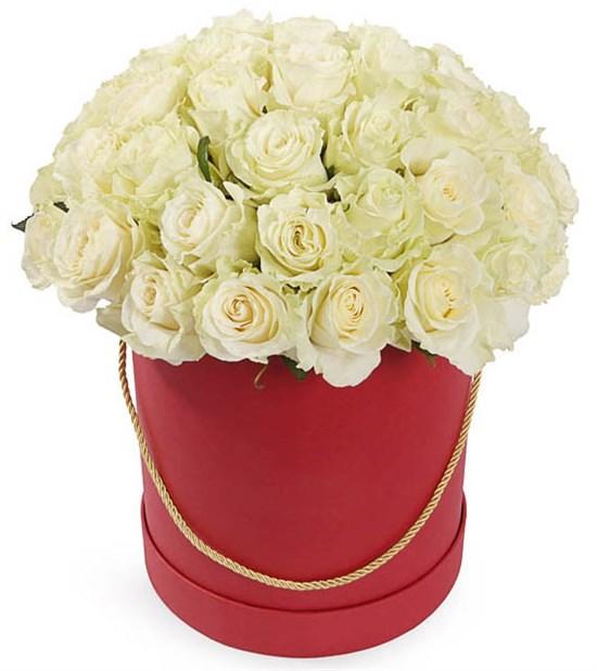 51 роза Мондиаль в красной шляпной коробке - фото 8271