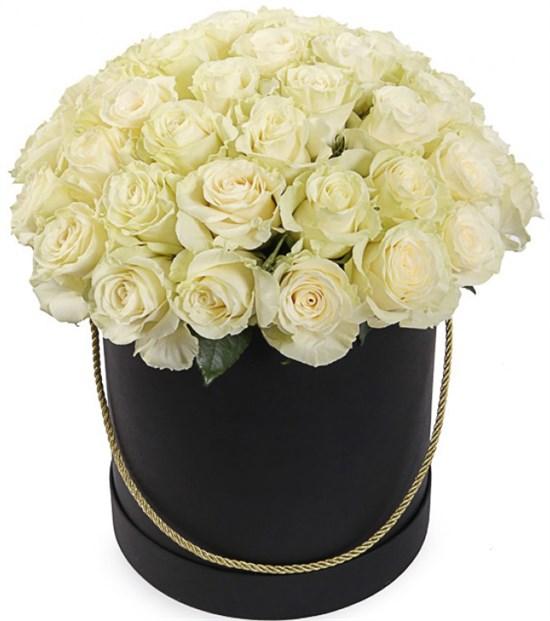 51 роза Мондиаль в черной шляпной коробке - фото 8272