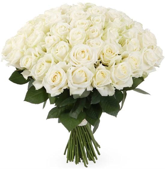 Букет 71 роза Аваланш 60/70 см - фото 8311