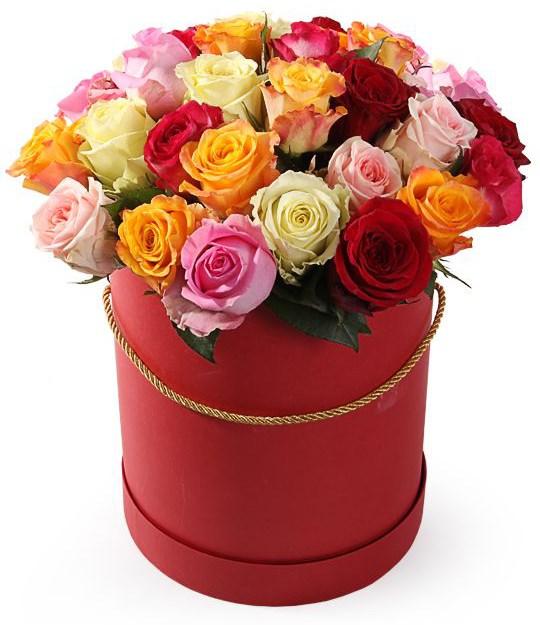 Фламандская легенда (35 роз) в красной коробке - фото 8508