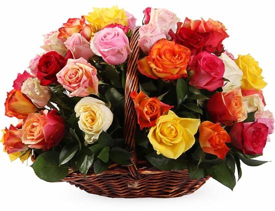 Фламандская легенда (51 роза) в корзине - фото 8559
