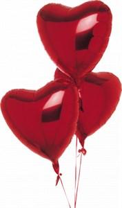 Воздушные шары 3 фольгированных сердца