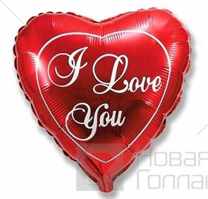 Воздушный шар сердце красный I Love You