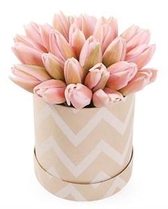 25 королевских тюльпанов в коробке, жемчужные