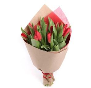 Букет 15 тюльпанов, красные