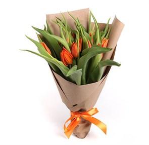 Букет 15 тюльпанов, оранжевые