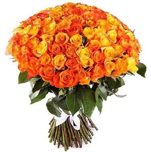 Букет 101 роза, оранжевый микс
