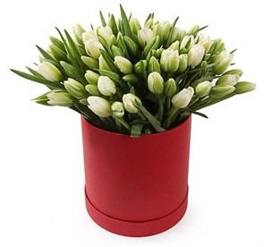 101 тюльпан в коробке, белые