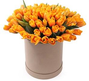 101 тюльпан в коробке, рыжие