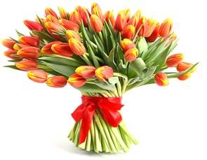 Букет 101 тюльпан, рыжие