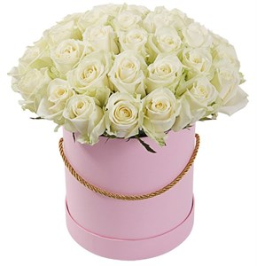 35 роз Аваланш в шляпной коробке