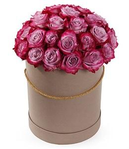 35 роз Дип Перпл в шляпной коробке