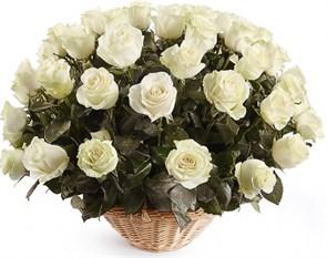 51 роза Мондиаль в корзине