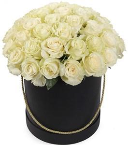 51 роза Мондиаль в черной шляпной коробке