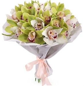 Букет из орхидей Фисташковое мороженое