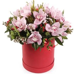 Букет с орхидеями Звездная ночь коробке