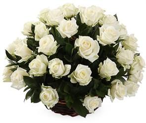 51 роза Аваланш в корзине