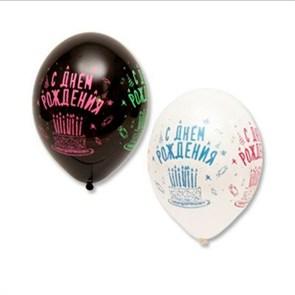"""Воздушные шары """"С днем рождения"""" шелкография"""